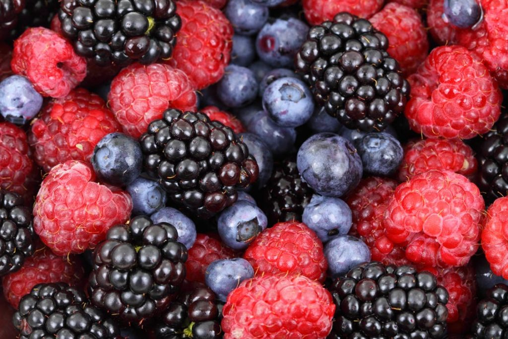 blueberries, blackberries and raspberries