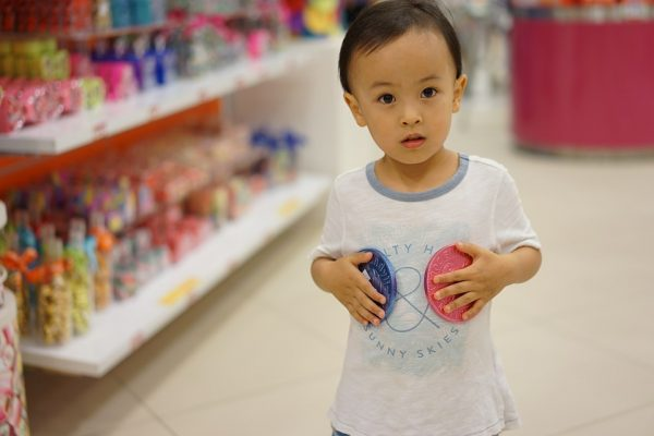A child in a shop