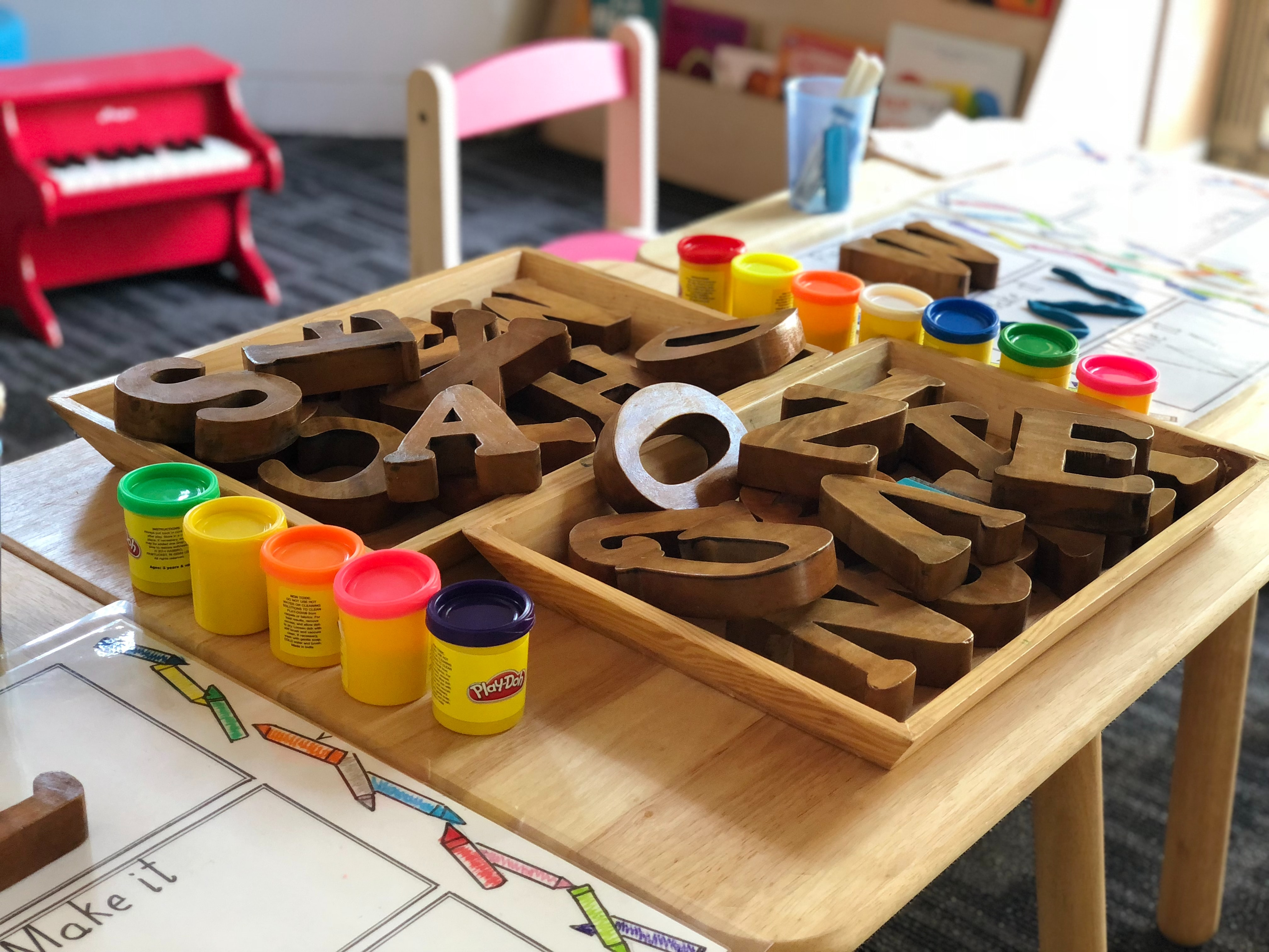 wooden letters in a classroom